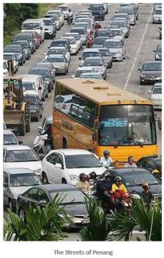 penang heavy traffic in center