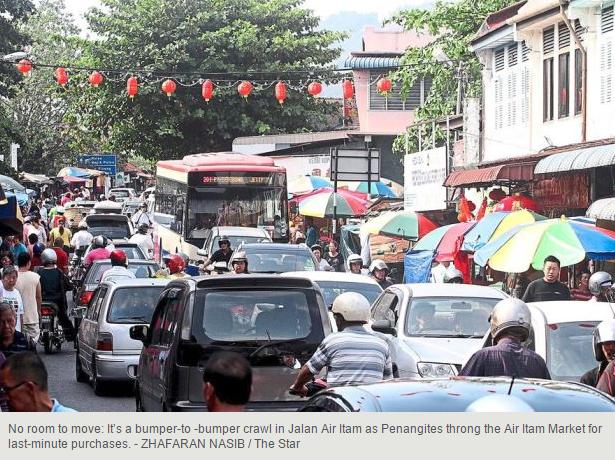 Malaysia Penang downtown traffic jam