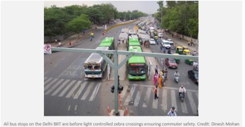 India Delhi BRT and pedestrian crossing