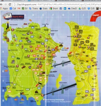 Penang map with roads, services