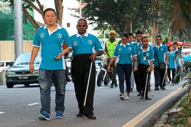 Penang blind walkers white cane day