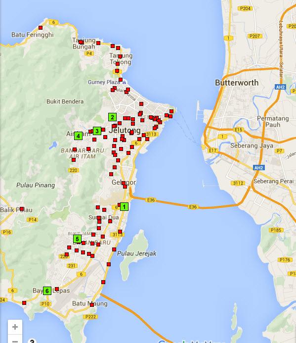penang traffic lights map