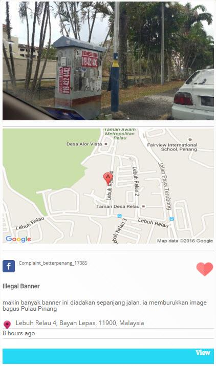Bettere Penang - banner complaint