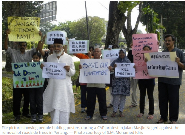 Penang protesting tree cutting car lane