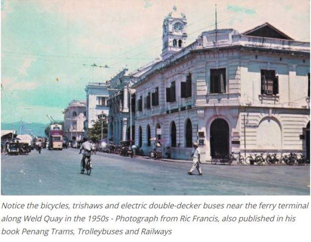 Malaysia Penang street traffic 1950s