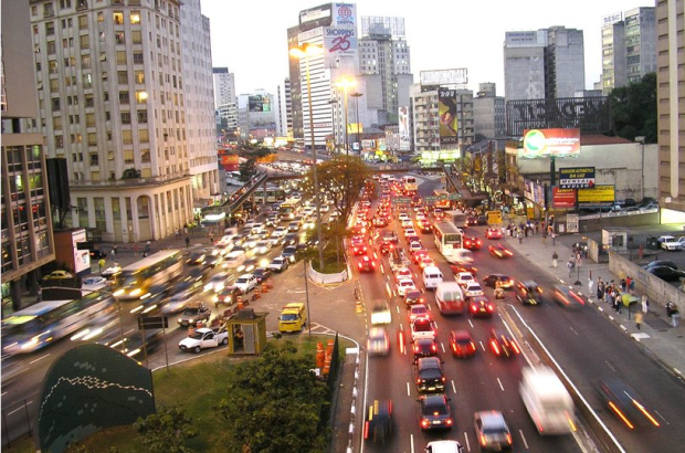 Traffic congestion is a notorious external cost of driving, such as in São Paulo