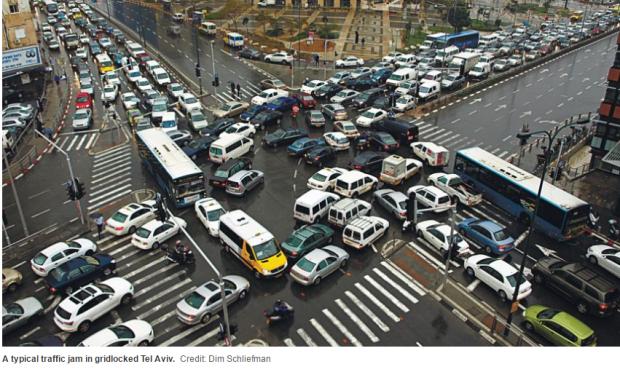israel-telaviv-massive-traffic-gridlock